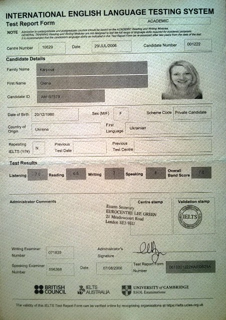 IELTS-certificate